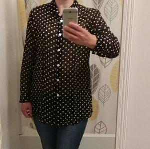 CHICOS 1 Sheere 100% Silk Chiffon ButtonDown Shirt